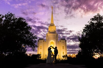 bride and groom sunset silhouette at the brigham city temple