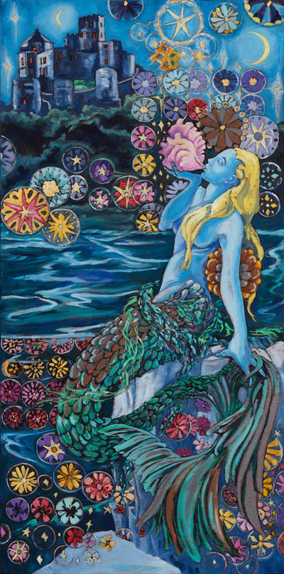 Oil painting of a mermaid at night on the edge of the sea, singing into a shell of sea anemones and flowers.