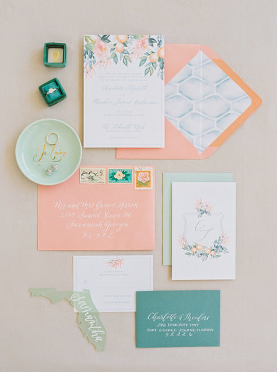 Coral and Teal Seafoam Floral Wedding Invitation Suite