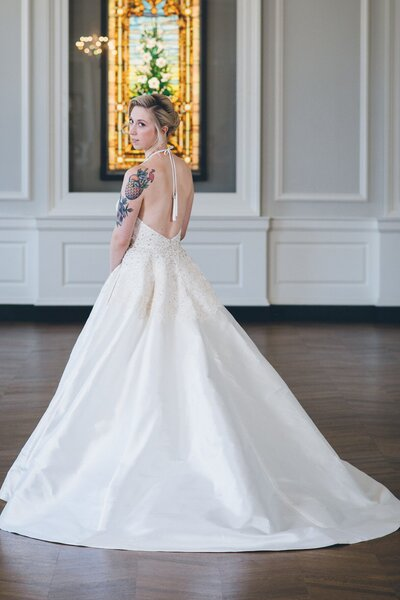 Back view of the halter ballgown wedding dress named Karli