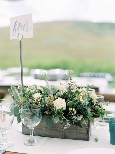 Green, Blue & White Floral Centerpiece for Montana Ranch Wedding