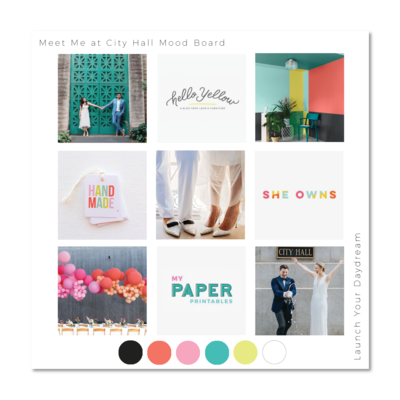 Mood board and color palette for photography business, Meet Me at City Hall