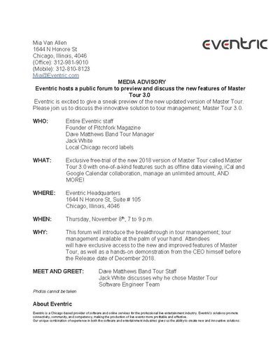 Eventric Master 3.0 Public Forum Press Release