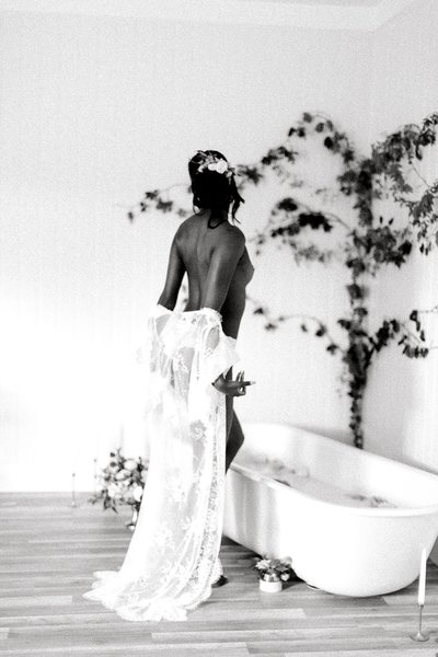 Fine Art Black Film Milk Bath Boudoir Norfolk Hampton Roads VA Beach Studio Yours Truly Portraiture