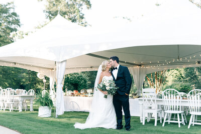 A white tented wedding reception at Southern House and Garden venue in Alabama