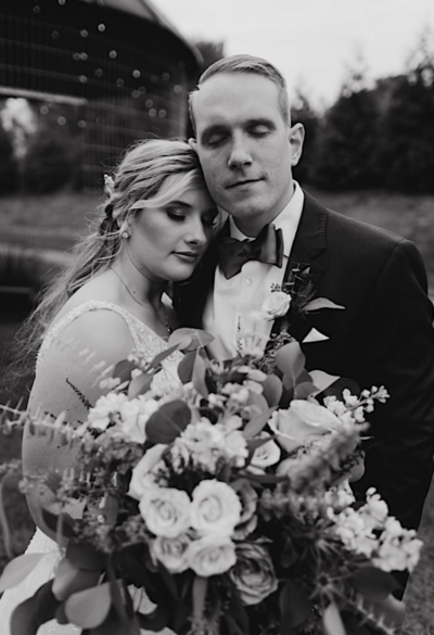 black and white wedding photo at stoltzfus homestead and gardens in lancaster pa by philadelphia wedding photographer bobbi phelps