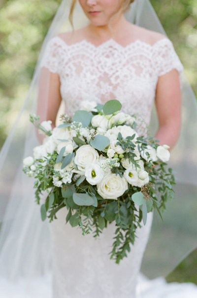 Beautiful white and green bouquet, Eaton ranch wedding