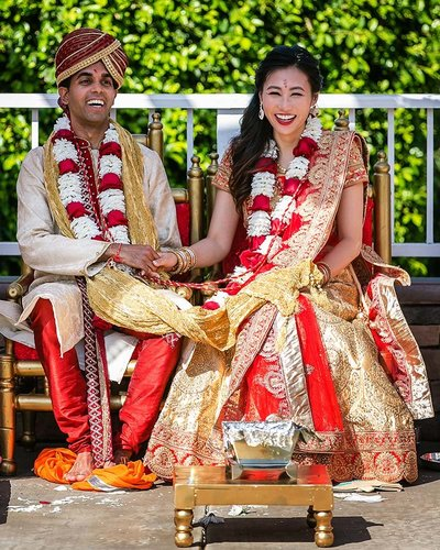 couple hindu wedding ceremony mountain meadows golf course