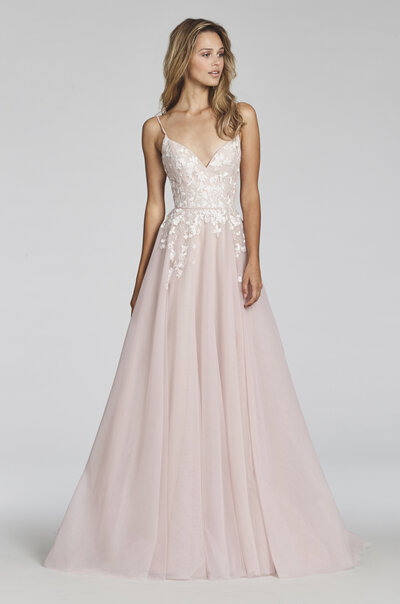Blush by Hayley Paige bridal gown - Pink Berry posy-embroidered net A-line bridal gown, spaghetti strap sweetheart bodice, full circular skirt with floral embroidery. Also available in Ivory.