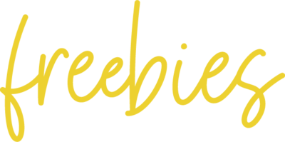 The word freebies in yellow script.