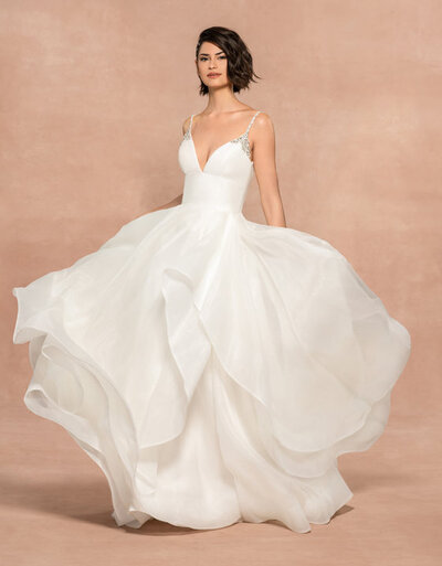 Blush by Hayley Paige bridal gown - Ivory organza ball gown with opal and clearwater crystal straps, deep sweetheart neckline and beaded scoop back, cascading organza skirt with horsehair trim.
