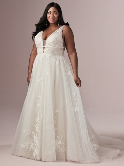 Plus size lace ballgown