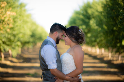 Bride and groom posed with their foreheads touching in the middle of a vineyard at Jess Jones winery, photo by sacramento wedding photographer ca, philippe studio pro.