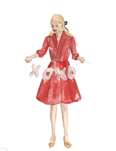 red dress valentine's day fashion illustration