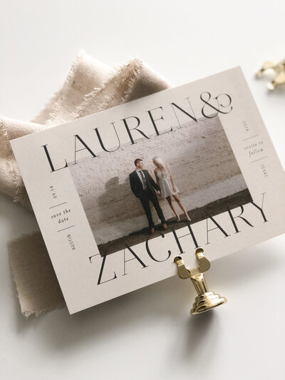 Modern save the date card with large names