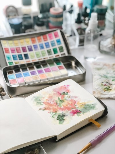 watercolor paints and abstract florals