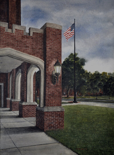 Patriot Walk Watercolor Painting at Baylor School in Chattanooga by Alan Shuptrine