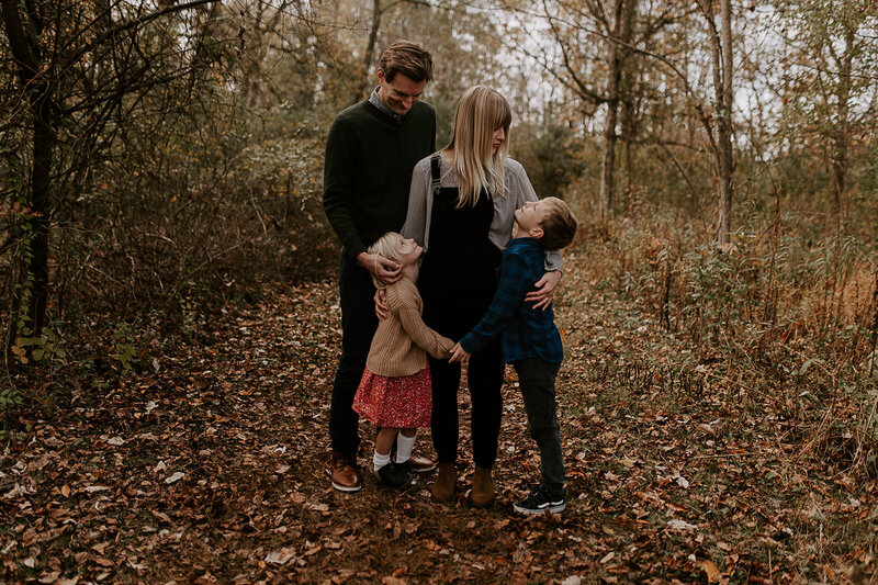Fall family session on a hiking trail at French Park in Cincinnati Ohio