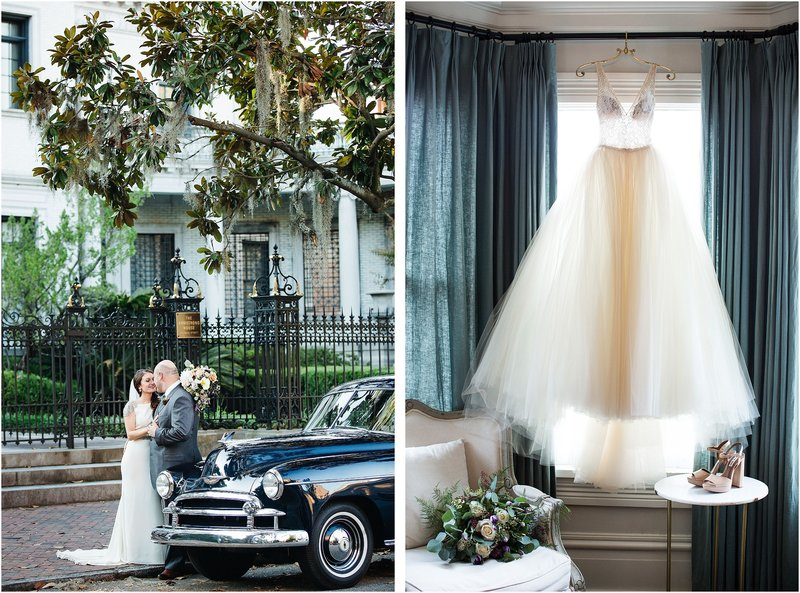 romantic savannah wedding vintage car