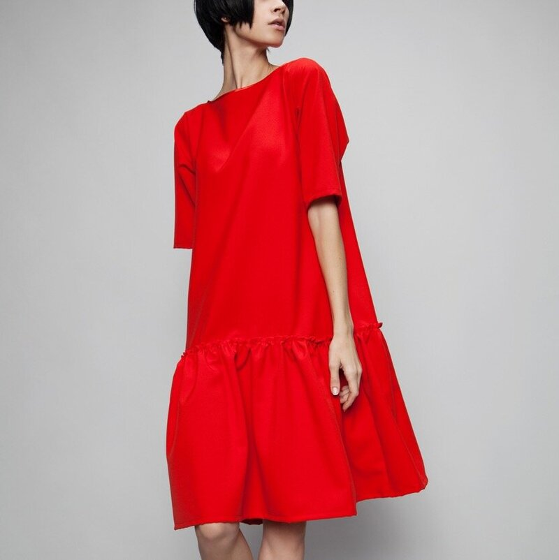 IG Crop Red A-Line Dress
