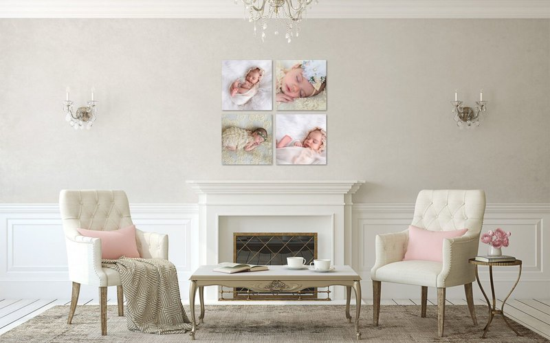 cozy living room with kid's beach photography images on the wall.