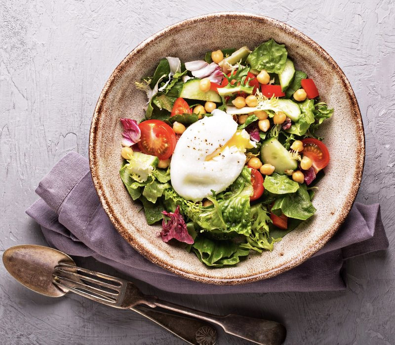 beautiful poached egg salad