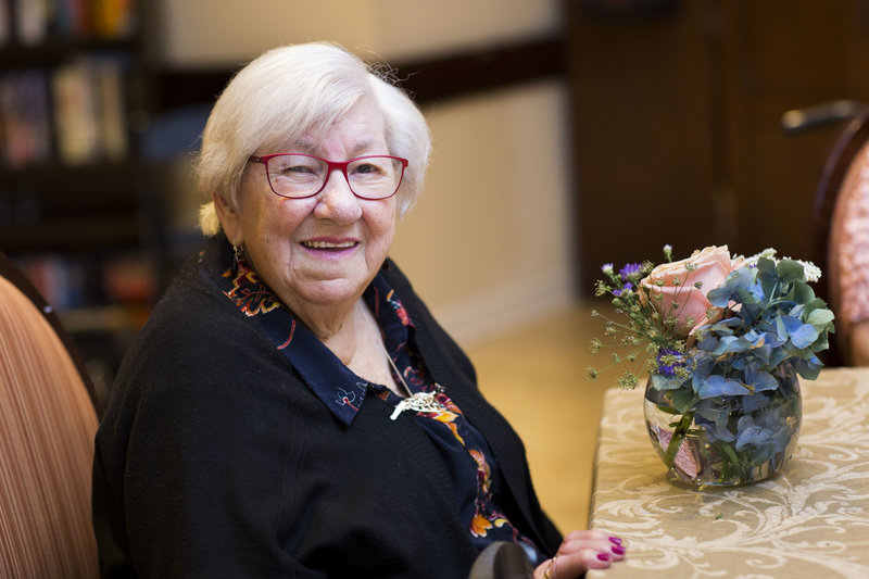 Flower arranging class in nursing home in NJ