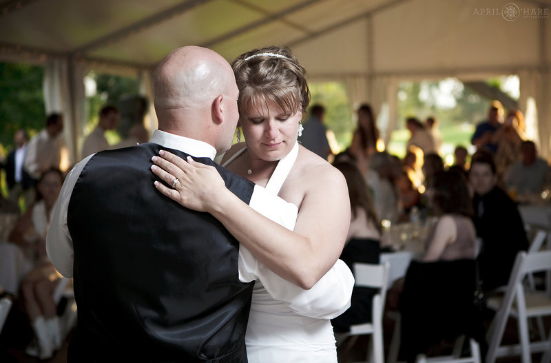First Dance in the White Tent at The Barn at Raccoon Creek in Colorado