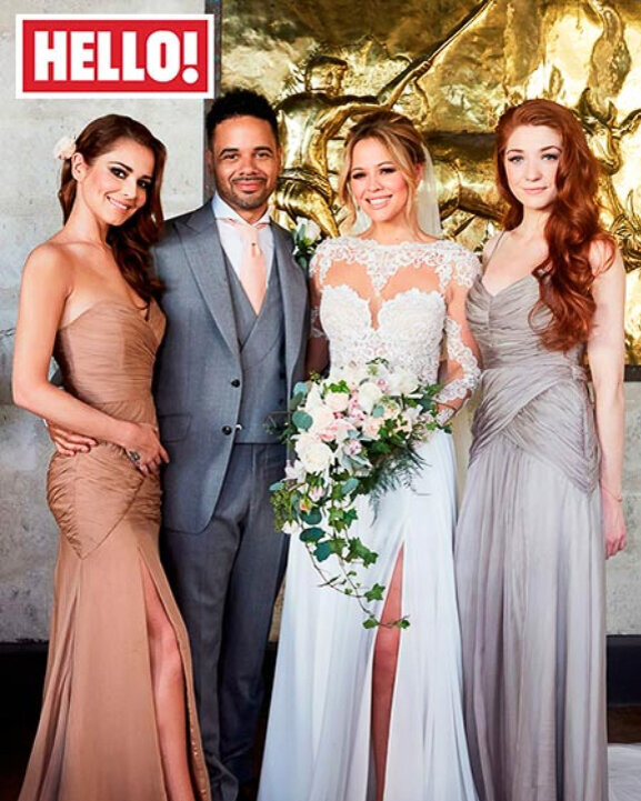 A magazine cover for a celebrity wedding in Barbados for Kimberley Walsh with Cheryl Cole as a bridesmaid.