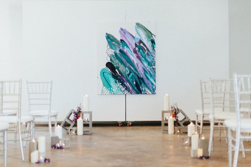 Colorful artistic wedding background styled by Posh Chic Events