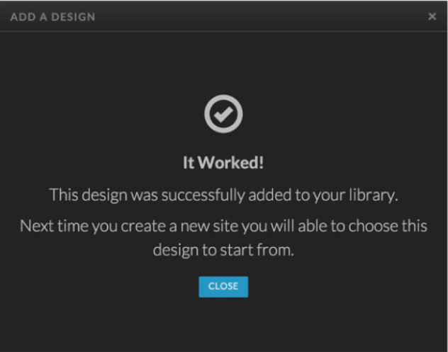 A Screenshot of Successfully adding a design to your library Showit Tutorial