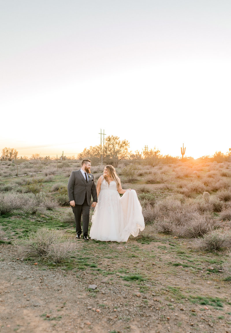 bride and groom desert portraits at The Paseo
