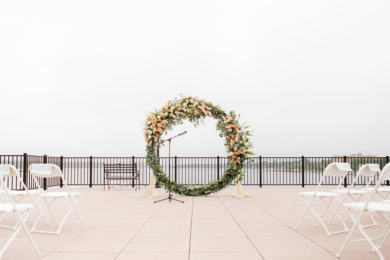 Giant floral wreath at ceremony
