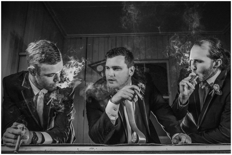 Boys smoking in an old shed Boonah wedding