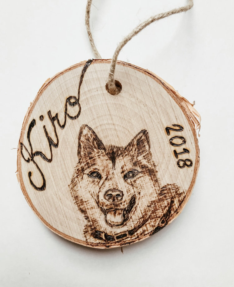 Wood burned pet portrait ornament