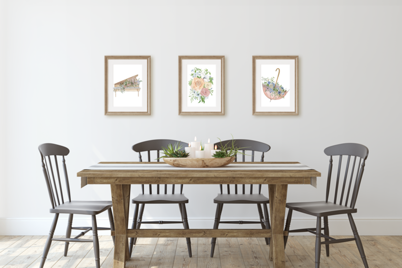 Floral Farmhouse Dining Room Wall Art Set of Three