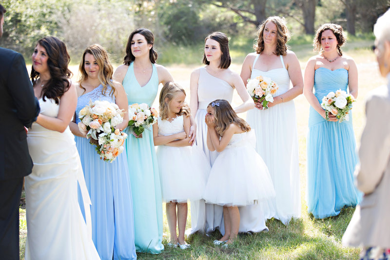 flower girls during ceremony, wedding photography