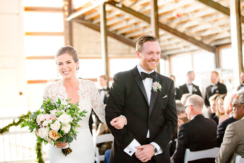 Wedding recessional at Bay Head Yacht Club
