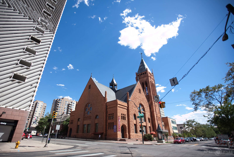 Exterior of Central Presbyterian Church in downtown Denver on a wedding day in September