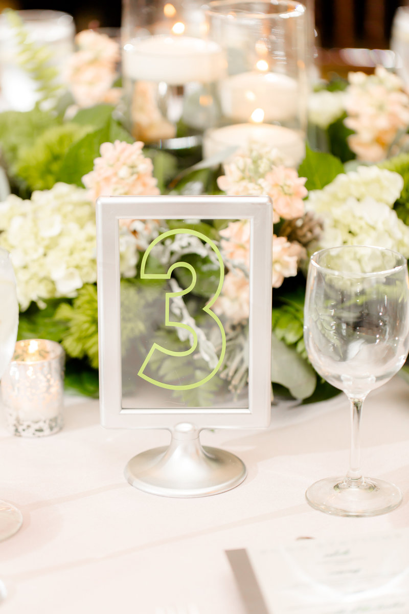 Table numbers with silver frames
