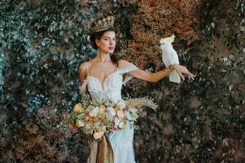 alida wedding editorial bride with bird