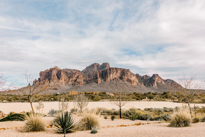 superstition mountains from The Paseo