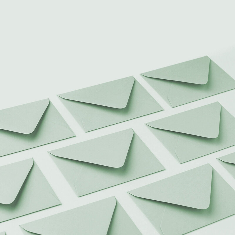 Mint Envelope invitation to join email list for Brand Comber