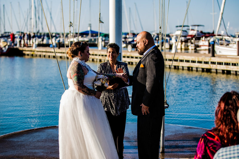 Bride reciting vows at Erie Yacht Club wedding