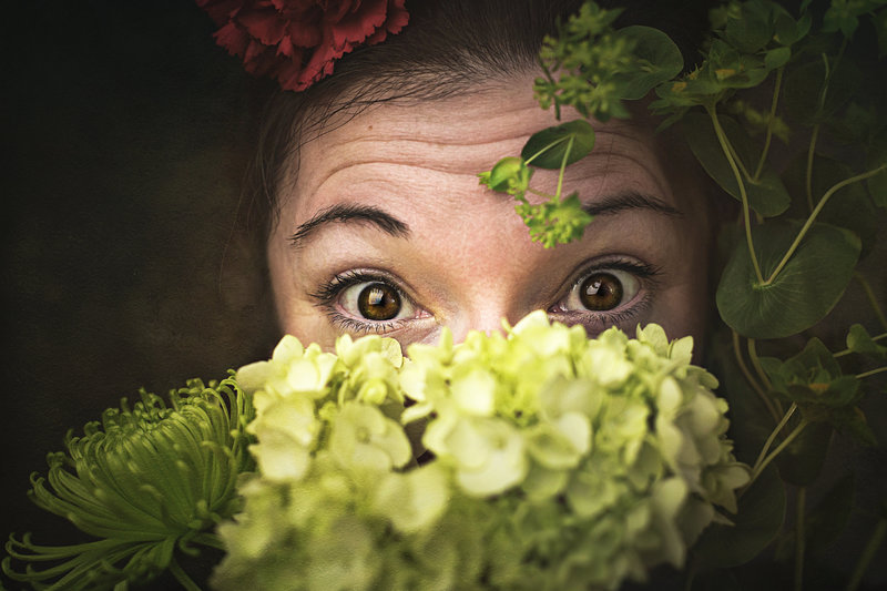 Self Portrait with flowers by Rain a Virginia photographer located in Northern Virginia