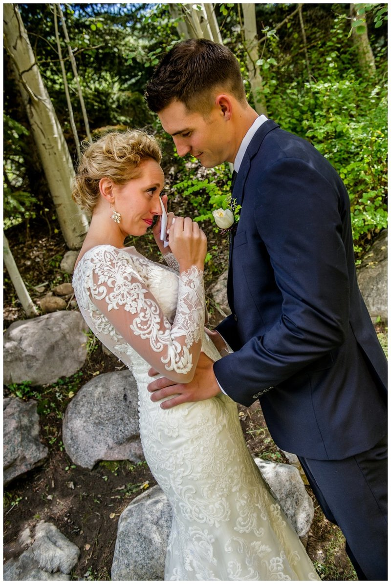 Vail Colorado Wedding at the Donovan Pavilion . First Look