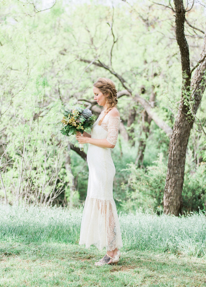 bridal portrait with succulent bouquet