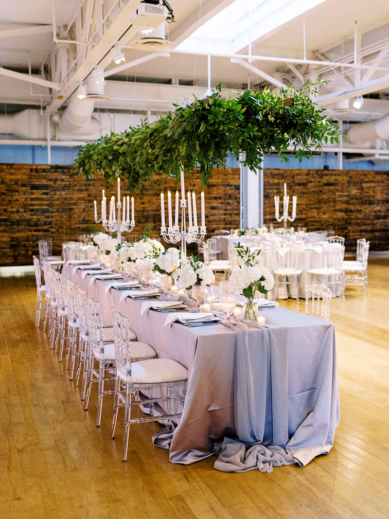 Long kings table for wedding party