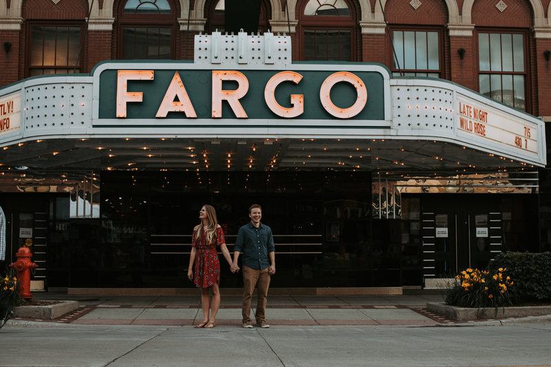 Couple Engagement Session Outside Fargo Theatre