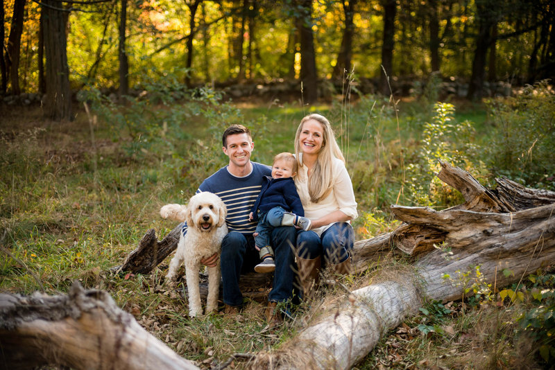 Family and pet in Boston fall foliage family session
